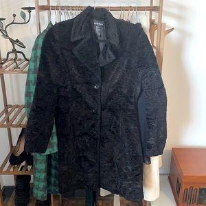 Bebe black faux fur long coat
